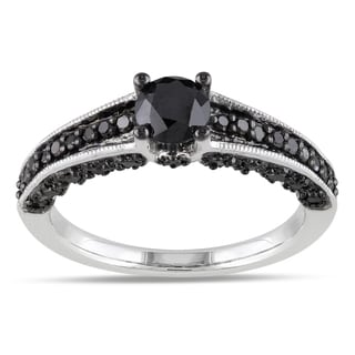 Miadora Sterling Silver 1ct TDW Round-cut Black Diamond Ring