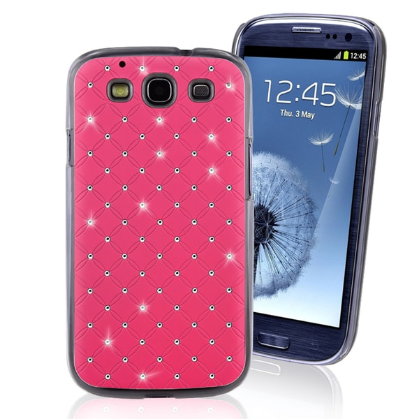 INSTEN Hot Pink with Bling Rear Phone Case Cover for Samsung Galaxy S III i9300