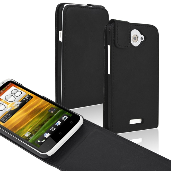 BasAcc Black Leather Flip Case for HTC One X