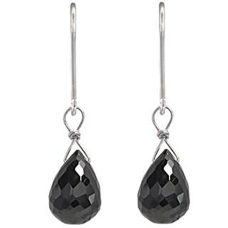 Ashanti Black Spinel Gemstone Briolette Handmade Sterling Silver Earrings (Sri Lanka)