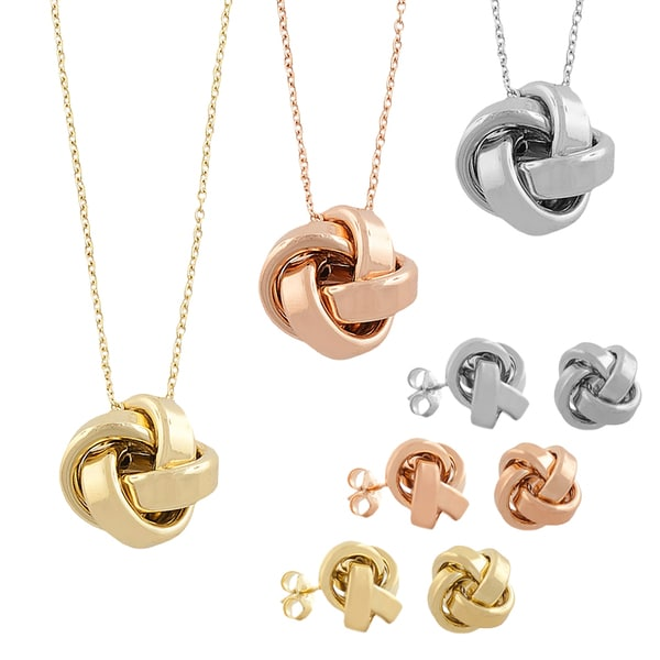 Fremada Sterling Silver Love Knot Earring and Necklace Set