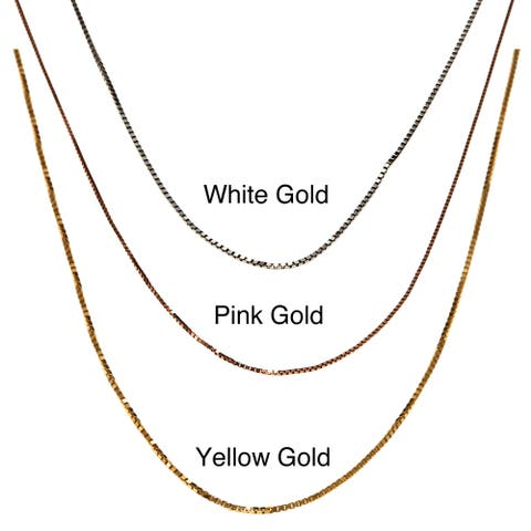 Fremada 10k Pink, White or Yellow Gold Box Chain (18-inch)