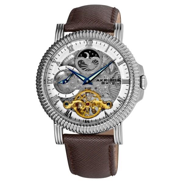 Akribos XXIV Men's Automatic Dual-Time Skeleton Brown-Strap Round Watch