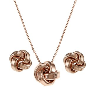 Fremada Plated Sterling Silver Love Knot Earring, Necklace or Set (More options available)