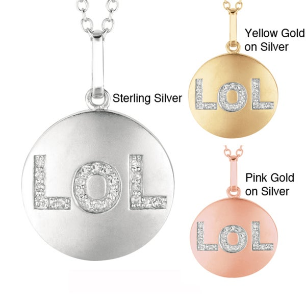 Sterling Silver Diamond Accent 'LOL' Disc Necklace