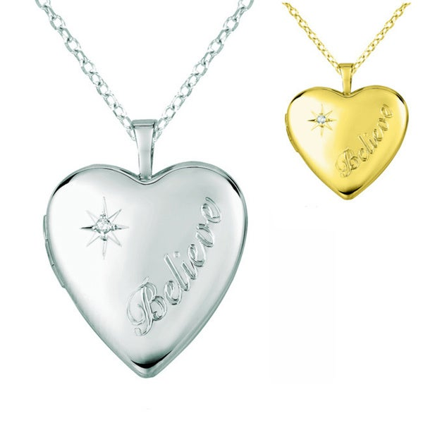 18 Sterling Silver Diamond-Accented Four-Picture Heart Locket Necklace