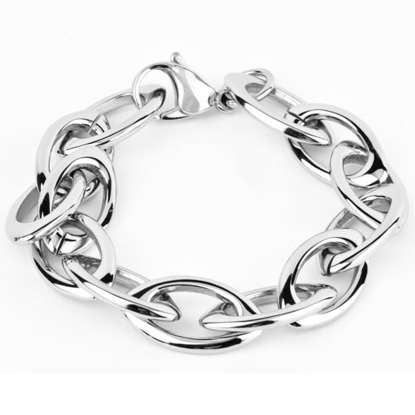 West Coast Jewelry Stainless Steel Interlocking Oval Chain Link Bracelet