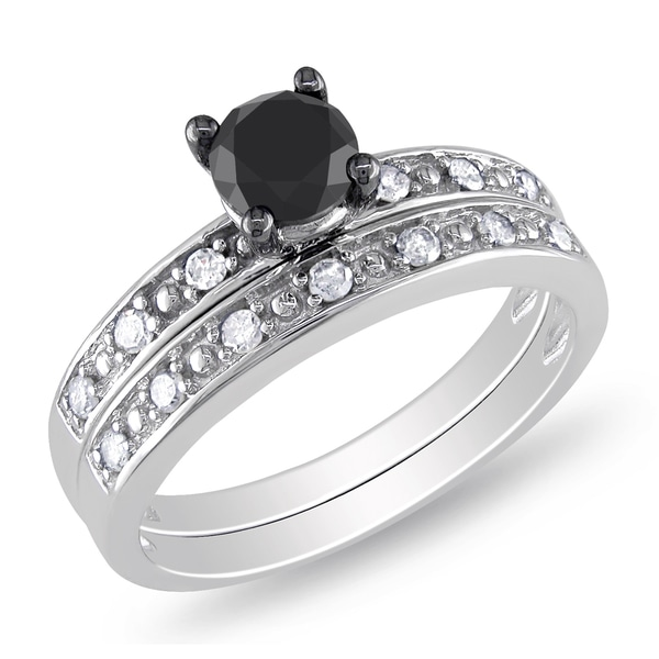 Miadora 10k Gold 1ct TDW Black and White Diamond Bridal Ring Set