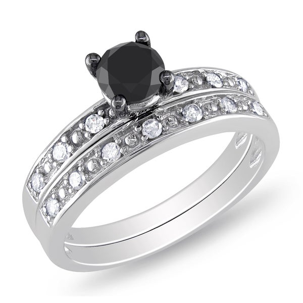 Miadora 10k Gold 1ct TDW Black and White Diamond Bridal Ring Set (H-I, I2-I3)