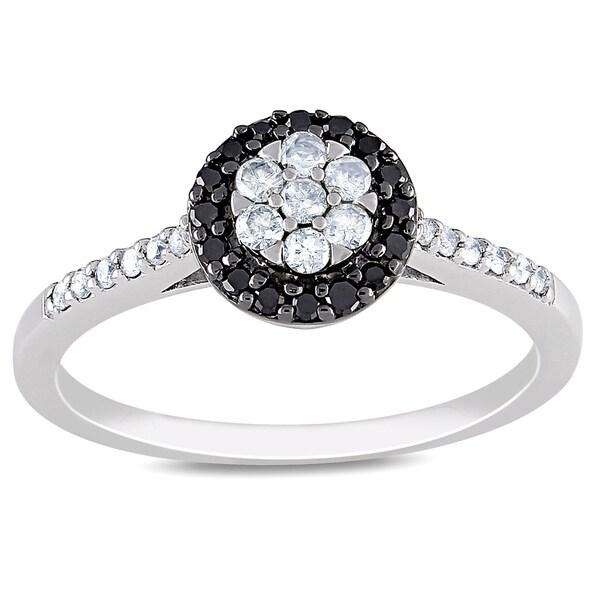 Miadora 10k Gold 1/4ct TDW Black and White Diamond Ring