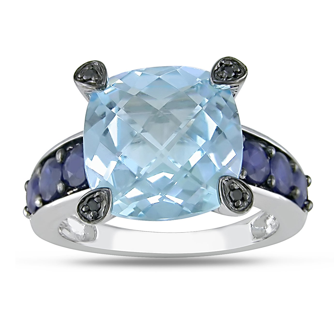Miadora 10k White Gold Multi-gemstone and Black Diamond Ring