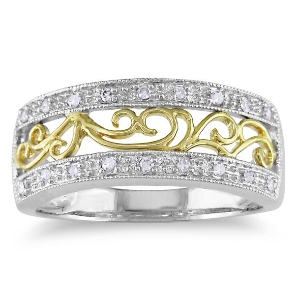 Miadora 10k Two-tone Gold 1/10ct TDW Diamond Ring