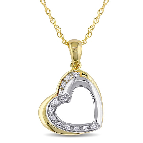Miadora Two-tone 10k Gold Diamond Accent Tilted Open Heart Necklace