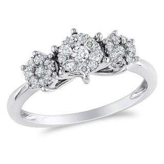 Miadora 10k White Gold 2/5ct TDW Diamond Ring