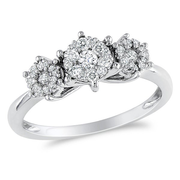 Miadora 10k White Gold 2/5ct TDW Diamond Ring