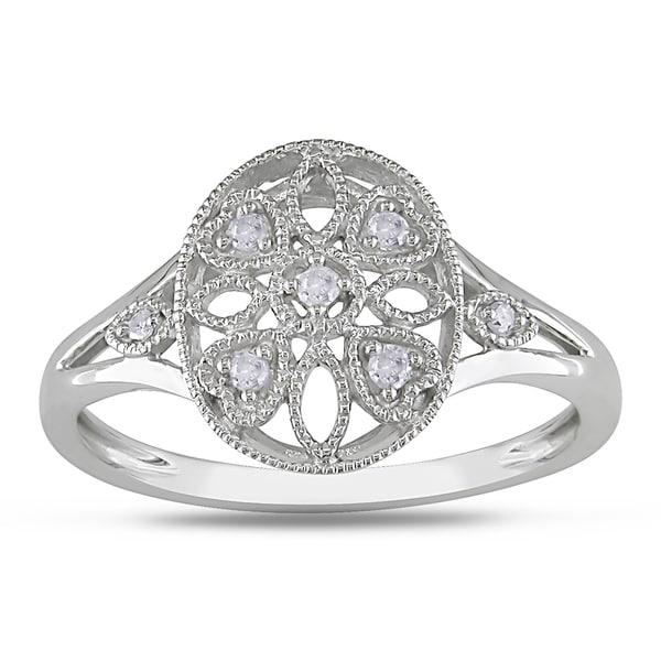 Miadora 10k White Gold Round-cut Diamond Accent Ring