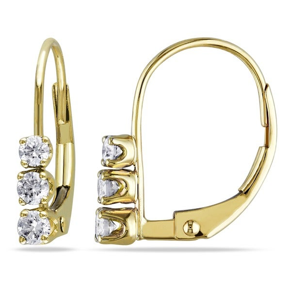 Miadora 14k Yellow Gold 1/4ct TDW Diamond 3-stone Earrings