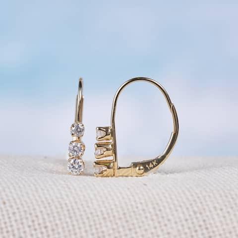 Miadora 14k Yellow Gold 1/4ct TDW Diamond 3-stone Earrings - 14.6 mm x 2.5 mm x 11.7 mm - 14.6 mm x 2.5 mm x 11.7 mm