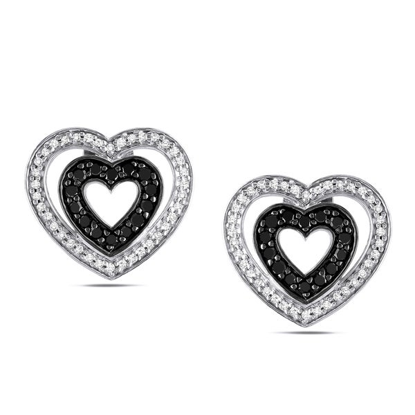 Silver 1/2ct TDW Black and White Diamond Earrings
