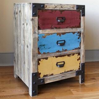 "International Caravan Vintage Antique Multicolor Three-drawer Chest - 28""h x 20""w x 16.5""d"