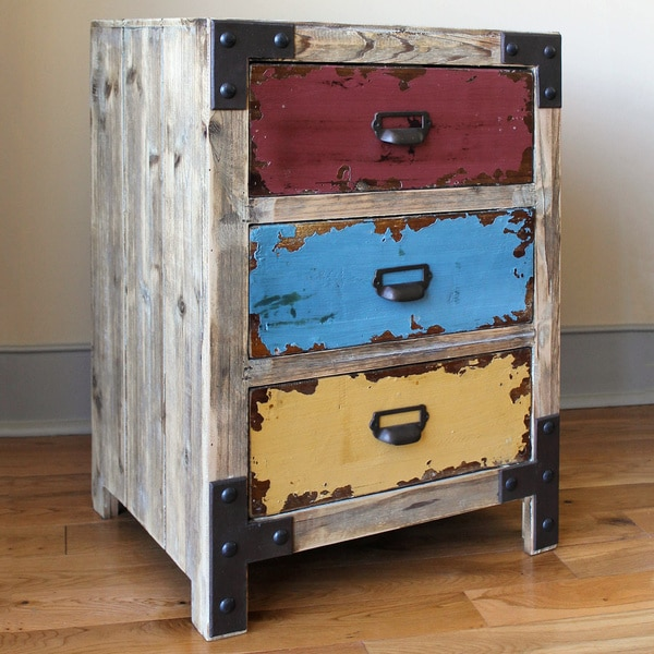 International Caravan Vintage Antique Multicolor Three-drawer Chest