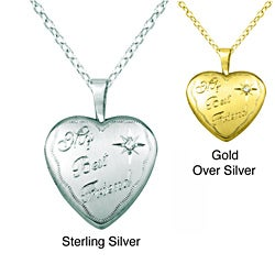 Sterling Silver Diamond Accent 'My Best Friend' Heart Locket Necklace