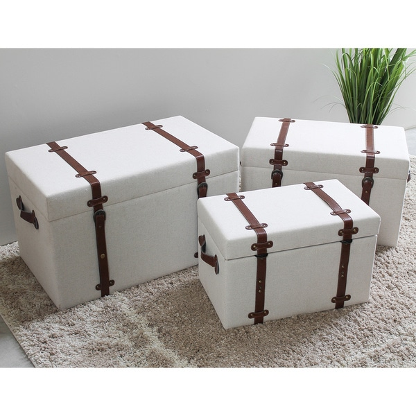 International Caravan Bradford Upholstered Vintage Trunks (Set of 3)