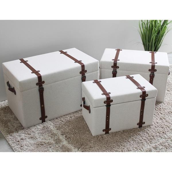 International Caravan Bradford Upholstered Vintage Trunks (Set of 3) - White. Opens flyout.
