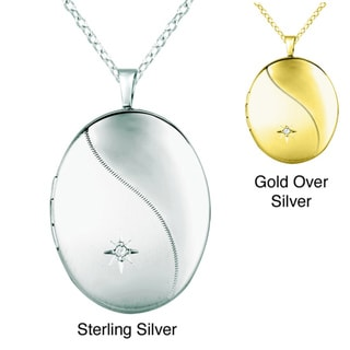 Sterling Silver Diamond Accent Oval Shape Locket Necklace