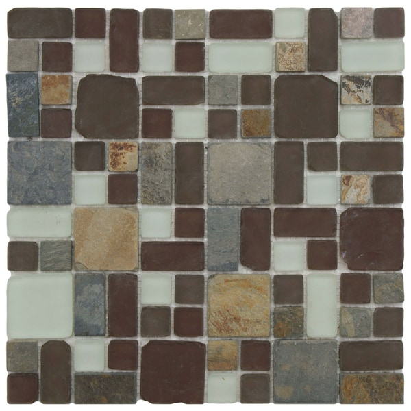 SomerTile 11.75x11.75-inch Reflections Versailles Huron Glass Stone Mosaic Wall Tile (Case of 10)