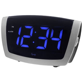 Large Blue LED Alarm Clock with USB Port