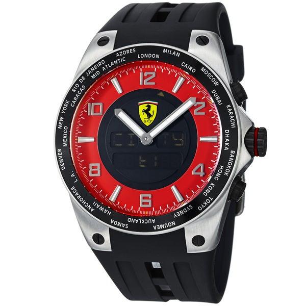 Ferrari Men's FE-05-ACC-RD 'World Time' Red Analog Digital Dial Black Strap Watch