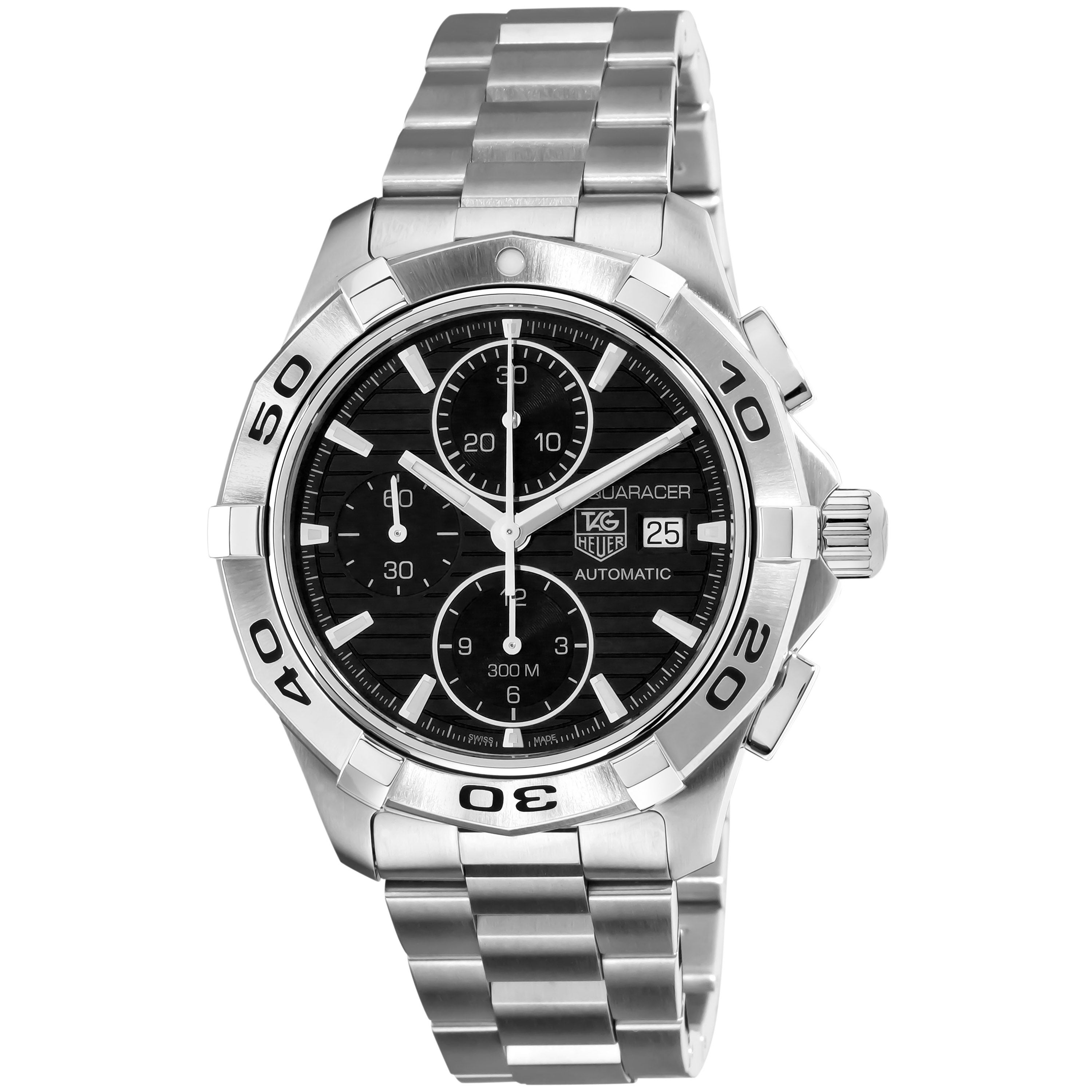 ed3cfa753 Shop Tag Heuer Men's 'Aquaracer' Steel Automatic Chronograph Watch - Free  Shipping Today - Overstock - 7262815