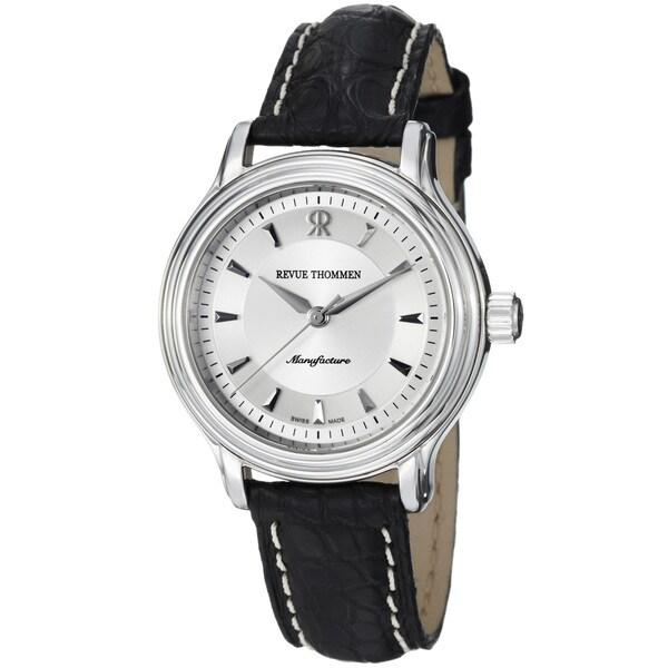 Revue Thommen Women's 12500.2538 'Classic' Silver Dial Black Leather Strap Watch