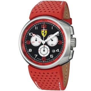 Ferrari Men's 'Classic' Black Dial Red Leather Strap Chronograph Watch