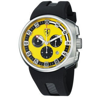 Ferrari Men's FE-10-ACC-CG/FC-YW 'Podium' Yellow Dial Black Rubber Strap Quartz Watch