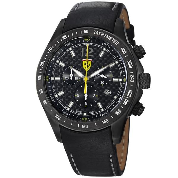 Ferrari Men's FE-07-IPGUN-CP-FC 'Scuderia' Black Dial Stainless-Steel Black Leather Strap Quartz Watch