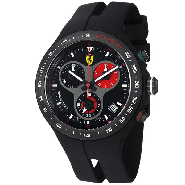 Ferrari Men's 'Jumbo' Black Dial Black Strap Chronograph Watch