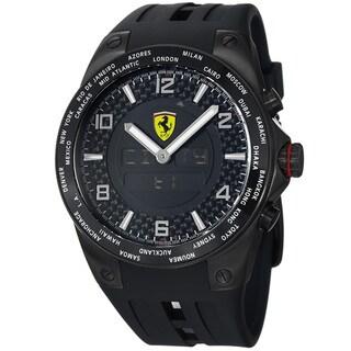 Ferrari Men's FE-05-IPB-FC 'World Time' Black Analog Digital Dial Black Strap Watch