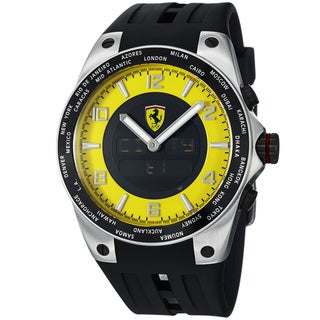 Ferrari Men's FE-05-ACC-YW 'World Time' Yellow Analog Digital Dial Quartz Watch