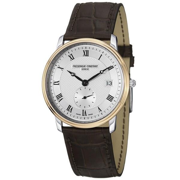 Frederique Constant Men's 'Slim Line' Swiss-Quartz Silver-Dial Brown-Strap Watch