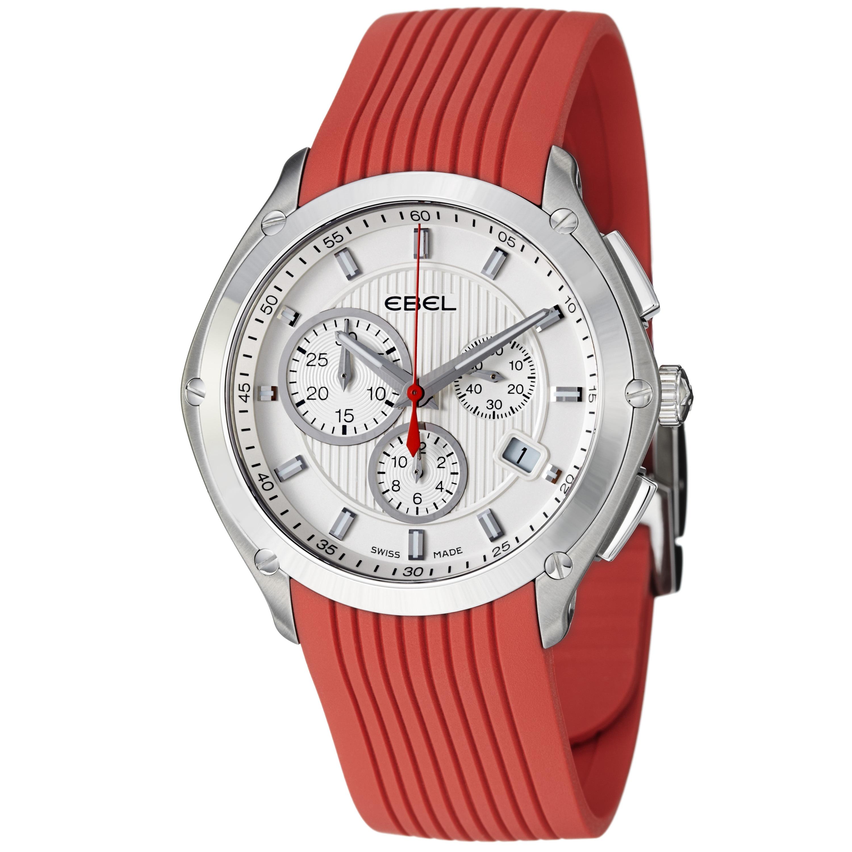 Ebel Men's 'Classic Sport' Silver Dial Red Rubber Strap Quartz Watch