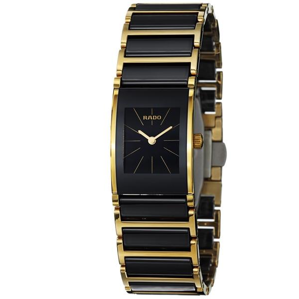 Rado Women's 'Integral' Black Dial Goldtone Steel Ceramic Watch