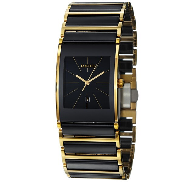 Rado Men's R20787162 'Integral' Black Ceramic Goldtone Steel Quartz Watch