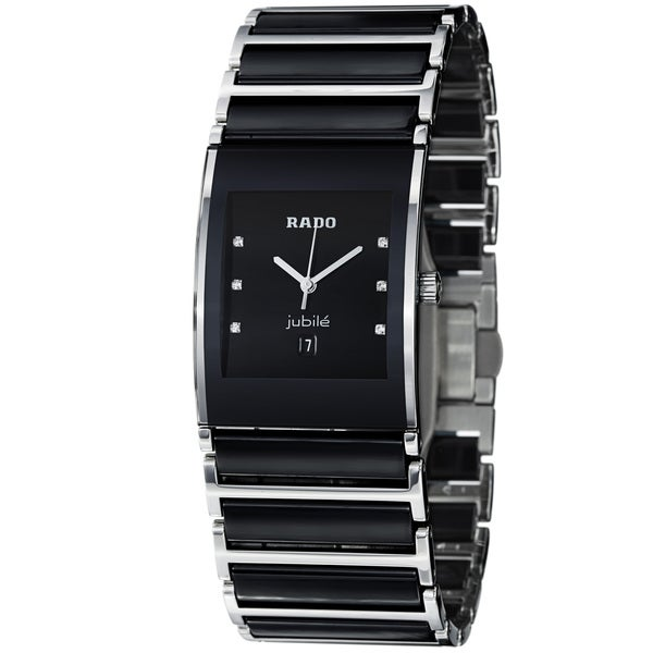 Rado Men's 'Integral' Black Dial Stainless Steel Ceramic Watch
