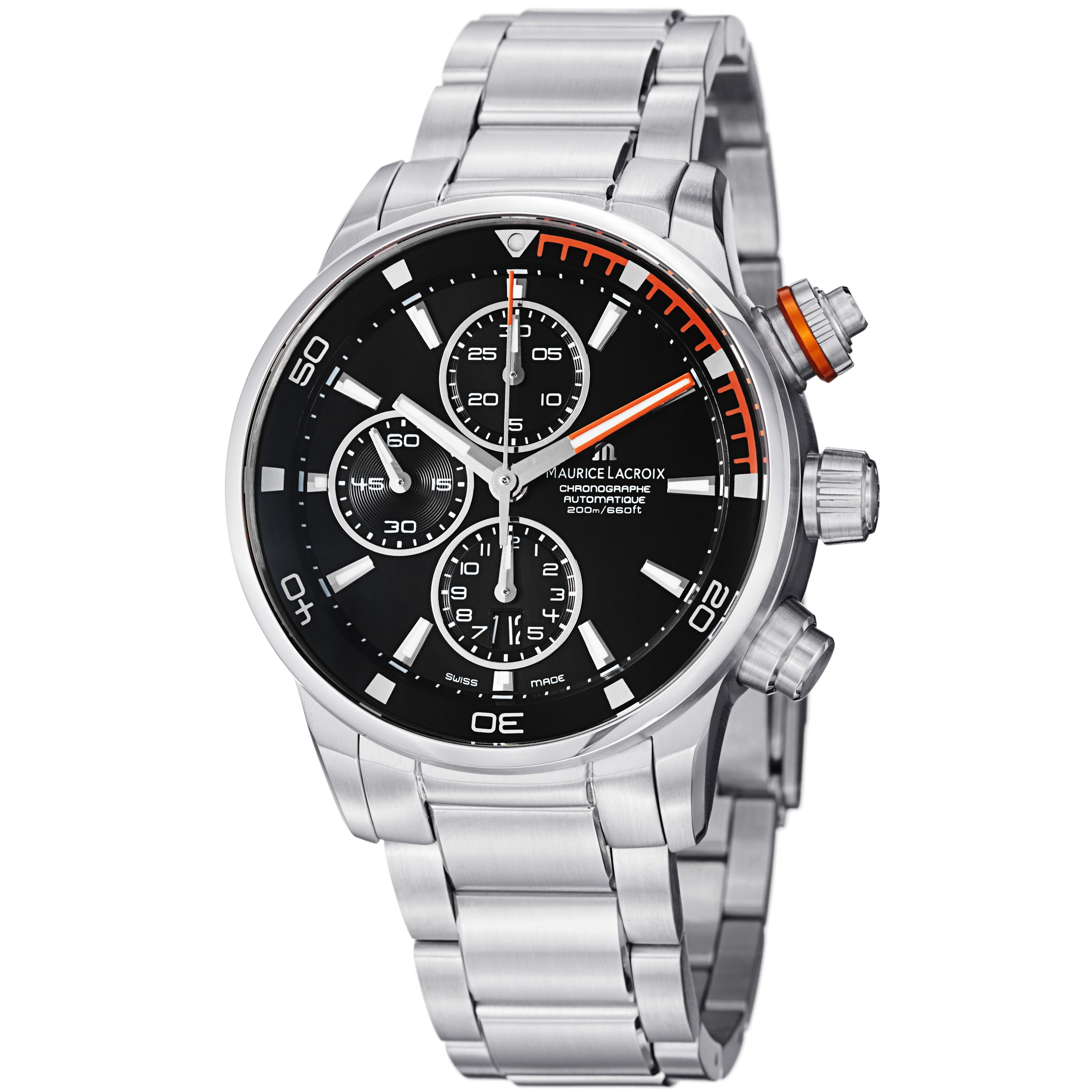 Maurice Lacroix Men's 'Pontos' Black Dial Chronograph Automatic Watch