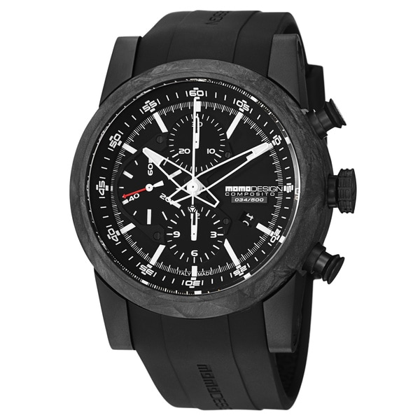 Momo Design Men's MD280CF-01BKFC-RB 'Composito' Black Forged Carbon Automatic Watch