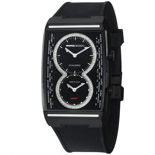 Momo Design Men's 'Dual Tech' Black Diamond Dial Rubber Strap Watch