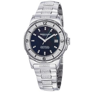 Momo Design Women's 'Pilot Lady' Black Mother of Pearl Dial Watch