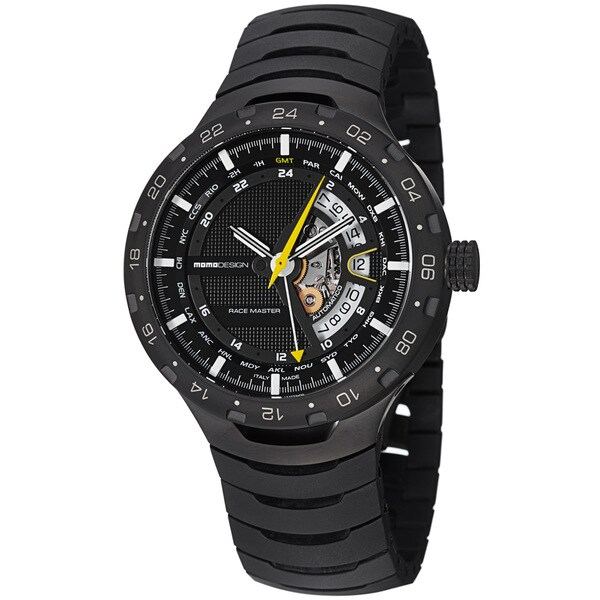 Momo Design Men's MD090BK-02BK-MB 'Master Racer' Black GMT Dial Black Titanium Watch